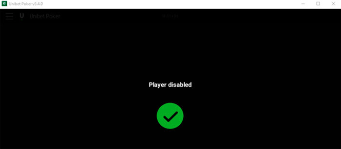 Unibet poker Player disabled